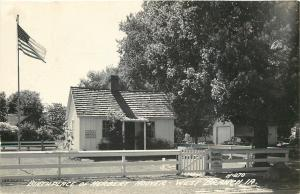 West Branch IA~Birthplace of Herbert Hoover~American Flag~RPPC