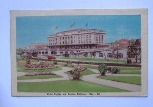 Union Station & Garden in Baltimore MARYLAND Vintage Linen Postcard