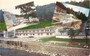 Gatlinburg Tennessee~River Terrace Motel~Front & Back~River's Edge~1960 Postcard