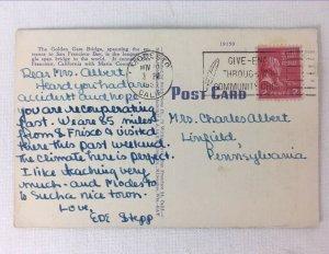 Postcard Golden Gate Bridge California San Francisco Bay C 1953 Posted