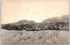 Bar Harbor, Maine Postcard Bird's-Eye Harbor Town View Sailboats 1950 Albertype