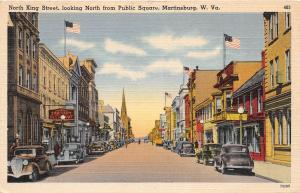 E15/ Martinsburg West Virginia WV Postcard 1946 Linen North King St Stores