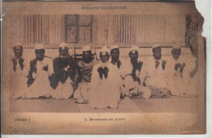 Muslims pray ( fire damage early postcard )