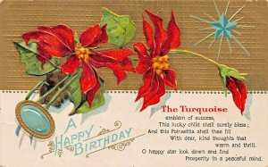 THE TURQUOISE~A HAPPY BIRTHDAY~MONTH OF DECEMBER WITH POEM-GILT POSTCARD