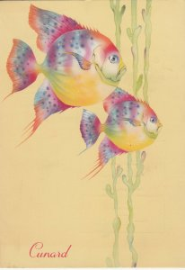 CUNARD Ocean Liner QUEEN ELIZABETH Menu, Luncheon ; 1952 ,Fish