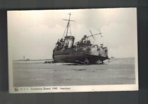1940 WW2 Mint RPPC Postcard BAttle Dunkirk British Navy Beached Torpedo Boat