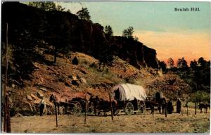 Beulah Hill Colorado, Covered Wagons Horses Vintage Postcard O19