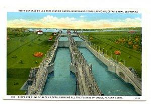Panama - Canal Zone. Gatun Locks, Entire Flight of Locks