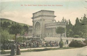 C-1910 Golden Gate Park California Music Stand San Francisco hand colored 8568