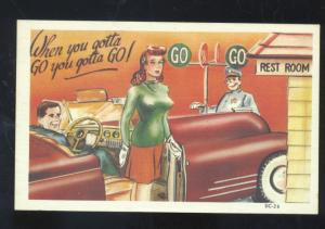 PRETTY WOMAN ANTIQUE AUTOMOBILE CAR RESTROOM HAS TO PEE COMIC POSTCARD