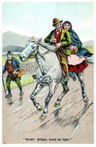 Irish  Woman passenger on Horse
