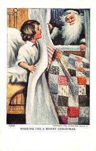 Katherine Gassaway Signed Black Suited Santa Claus Christmas Girl 1906 Postcard