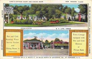 Lane Cottage Court Motel Cafe Gas Station Yemasee South Carolina 1937 postcard