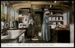 Germany Austria WWI Army Red Cross Train Nurses in Kitchen Car Patriotic G 66337