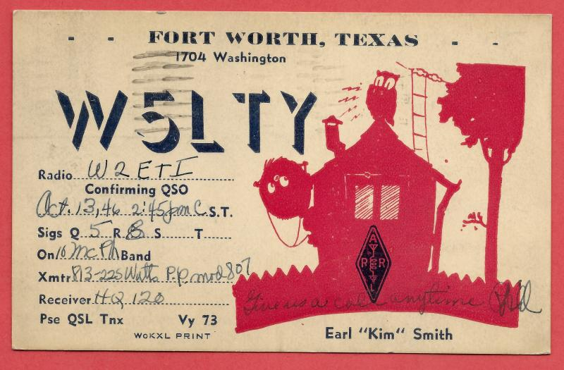 QSL from Fort Worth, TX to Rutherford, NJ - 1946