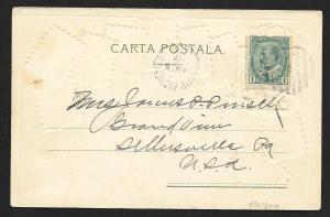 ROMANIA Stamps on Postcard Embossed Shield Used c1907
