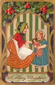 Christmas~Victorian Girls~Lil Sister Doll~Green Stripe~Gold Purple Art Nouveau