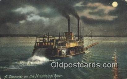 A Steamer On The Mississippi River, USA Steam Ship 1910 light wear postal use...