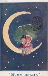 T GILSON ; Moon-Beams , Child cuple sitting on Moon , 1913