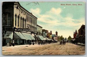 Alma Michigan~Main Street~Wheaton Drug Store~Opera House~1912 Postcard
