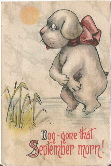 "Puppy Dog in Lake by Cat Tails ""dog-gone that September Morn!"" Comic, Humor"