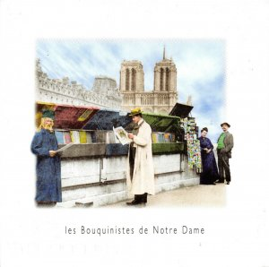 France Postcard, Les Bouquinistes de Notre Dame, Paris (1900) Reproduction FI0