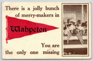 Wahpeton ND~Patriotic, Flag-Waving, Merry-Makers Missing Miss Dodds 1912 Pennant