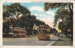 Illinois Chicago Double Decker Busses On Lincoln Park Drive Curteich sk4915