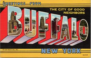 Greetings from Buffalo NY New York Large Letter Black c1951 Linen Postcard F2