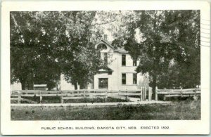 Vintage DAKOTA CITY, Nebraska Postcard PUBLIC SCHOOL BUILDING w/ 1908 Cancel