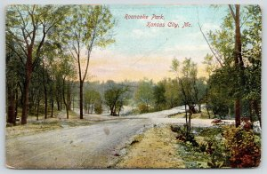 Kansas City Missouri~Dirt Intersection~Roanoake Park in Spring~c1910 Postcard