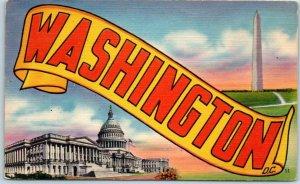 1953 WASHINGTON DC Large Letter Postcard / Wash. Monument & U.S. Capitol - Linen