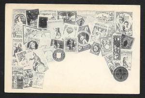 GERMANY Poster Stamps on Postcard Unused c1905