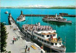 Modern Postcard Konstanz Rodensee Hafen mit Schweizer Alpen Boat