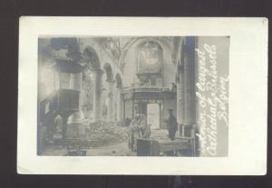 RPPC BRUSSELS BELGIUM LARGE CHURCH INTERIOR VINTAGE REAL PHOTO POSTCARD