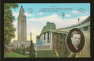 USA Postmark 1946 New Orleans LA Louisiana State Capitol Sen Long Linen Postcard