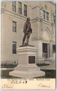 HARTFORD, Connecticut CT  Handcolored   THOMAS KNOWLTON STATUE 1905 Postcard