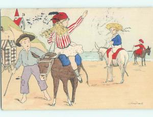 1907 foreign signed GIRL RIDING PONY HORSE WAVES TO HER FRIEND HL8172