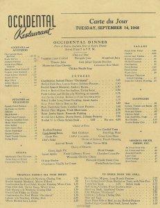 MK-072 Washington DC Occidental Dinner Menu September 14 1948 Restaurant Vintage