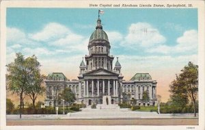 State Capitol And Abraham Lincoln Statue Springfield Illinois 1940