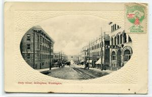 Holly Street Scene Bellingham Washington 1912 postcard