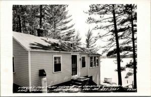 Heafford Jct Wisconsin~Lake Nokomis~Vaughn's Fish Trap Resort~Camping~1950s RPPC