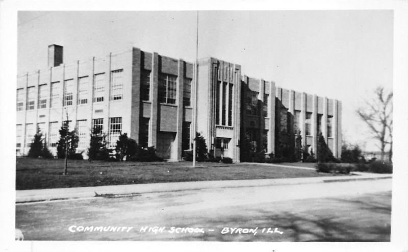 Byron Illinois~Cummunity High School~1950s Postcard on Real Photo Paper