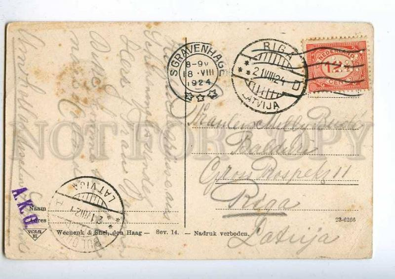 192262 HOLLAND Scheveningen Vintage RPPC to RIGA Perfin stamp