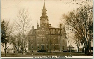CLARINDA, Iowa RPPC Real Photo Postcard High School Building 1909 IA Cancel