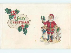 Pre-Linen christmas BOY AND GIRL STAND ON EACH SIDE OF SANTA CLAUS hr2974