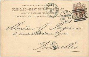 Entier Postal Stationery Postal Great Britain Great Britain 1883 Glasgow to B...