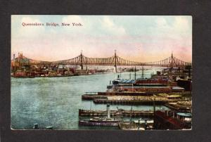 NY Queensboro Bridge NYC New York City Vintage Postcard NYC Ships Harbor