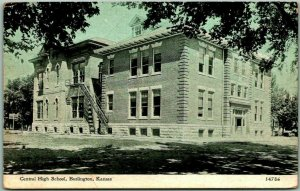 Burlington, Kansas Postcard Central High School Building View / 1913 KS Cancel