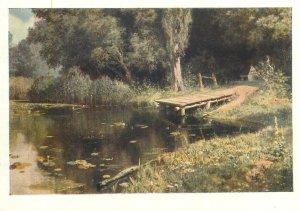 Art signed Postcard Overgrown Pond painting by V.D Polenov